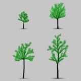 Set wektorowych drzew czarne sylwetki z liśćmi royalty ilustracja