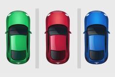 Set wektorowych samochodów odgórny widok royalty ilustracja