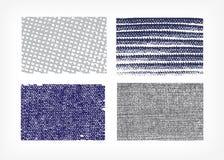 Set wektorowych tekstur sukienni cajgi odizolowywał cztery ilustracji