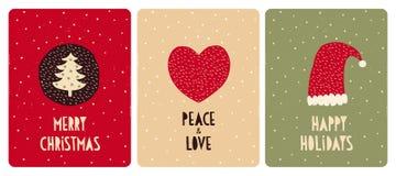 Set 3 wektoru Śliczna Bożenarodzeniowa karta Choinka z Zielonymi gwiazdami, Czerwonym sercem i Santa kapeluszem, ilustracji