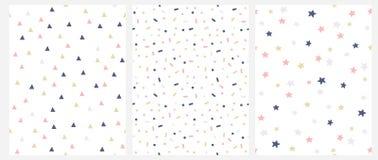 Set 3 wektoru Geometryczny Bezszwowy wzór z menchiami, złotem i szarość kropkami, trójboki, gwiazdy Odizolowywać na Białym tle ilustracja wektor