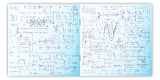 Set wektoru wzór z istnej ręki pisać tekstem na copybook siatki papierze Zdjęcie Royalty Free