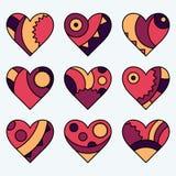 Set wektory malujący barwiący dekorujący serca Zdjęcie Royalty Free