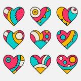 Set wektory malujący barwiący dekorujący serca Zdjęcia Royalty Free