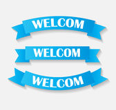 Set of Welcom Ribbon Vector Illustration Stock Photos