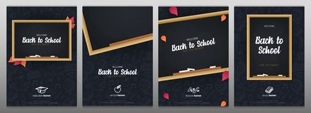 Set of Welcome Back to School banners with chalkboard and dark hand draw doodle background. Set of Welcome Back to School banners with chalkboard and dark hand royalty free illustration