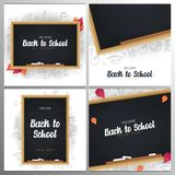 Set of Welcome Back to School banners with chalkboard and white hand draw doodle background. Set of Welcome Back to School banners with chalkboard and white stock illustration