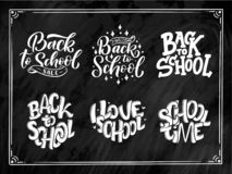 Set of Welcome back to school lettering quotes. Back to school sale tag. Hand drawn lettering badges. Typography emblem set. Chalk
