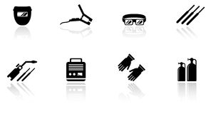 Set of welding equipment icons Stock Photos