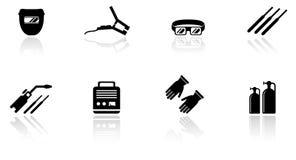 Set of welding equipment icons. Set of black  welding equipment icons Stock Photos