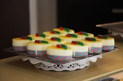 Set of well-ordered cakes in a tray royalty free stock photos