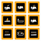 Set of Wellness&Spa pictograms on Black I. Set of icons with Spa&Wellness theme in white and orange on black background Royalty Free Stock Image