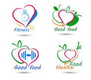 Set wellness symbols. Healthy food and fitness Royalty Free Stock Photos