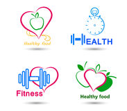 Set Wellness symbols. Healthy food and fitness. Wellness symbols. Healthy food and fitness leads to healthy heart and life Stock Images