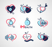 Set wellness symbols. Healthy food and fitness. Wellness symbols. Healthy food and fitness leads to healthy heart and life Stock Photography