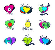 Set Wellness symbols. Healthy food and fitness. Royalty Free Stock Image