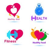 Set Wellness symbols. Healthy food and fitness. Royalty Free Stock Photography