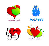 Set Wellness symbols. Healthy food and fitness. Royalty Free Stock Photo