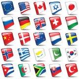 Set Weltmarkierungsfahnen Lizenzfreie Stockfotografie