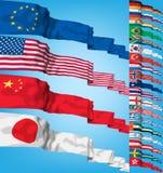 Set Weltmarkierungsfahnen Stockbild