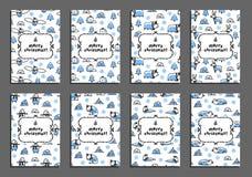 Set wesoło kartka bożonarodzeniowa szablony z arktycznymi zwierzętami Zdjęcie Royalty Free