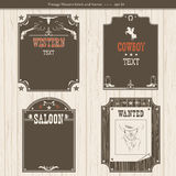 Set of Western backgrounds.Vector black graphic labels  Royalty Free Stock Images