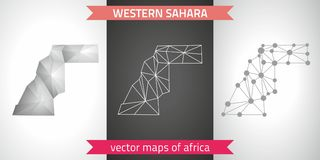 Western Sahara set of grey and silver mosaic 3d polygonal maps. Graphic vector triangle geometry outline shadow perspective maps. Set of Western Sahara polygonal Royalty Free Stock Image