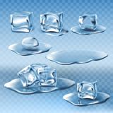 Set of wet melting ice cubes and water puddles vector illustration