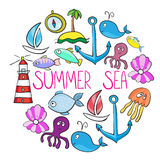 Set of whale, boat, island, anchor, octopus, jelifish, lighthous Stock Photography