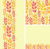 Set of wheat plants seamless pattern and borders Stock Photo