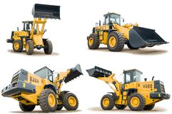 Set of wheel loaders isolated. Set of Loaders excavators construction machinery equipment isolated Royalty Free Stock Photography