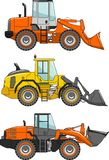 Set of wheel loaders  on white background Stock Photography