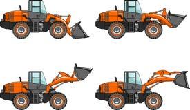 Set of wheel loaders  on white background Stock Photos