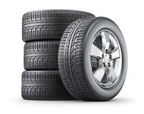 Set of wheels with alloy rims Royalty Free Stock Photography