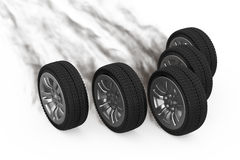 Set of wheels up dust. Isolated 3d illustation Royalty Free Stock Photography