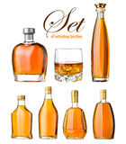 Set of whiskey. Bottles and glass isolated Stock Photo