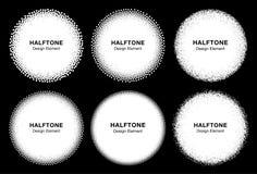 Set of 6 White Abstract Halftone Dots Circles. Royalty Free Stock Image