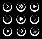Set Of White Arrow Icons In Circles Royalty Free Stock Photography