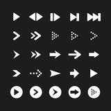A set of white arrow sign and symbol on black background. Vector illustration Royalty Free Stock Photo