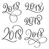 Set of 2018 on white background. Hand drawn Calligraphy lettering Vector illustration EPS10 Royalty Free Stock Photography