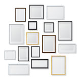 Set of White and Black Blank Picture Frames and Stock Image