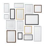 Set of White and Black Blank Picture Frames and Royalty Free Stock Photography