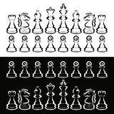 Set of white and black chess, rivalry, intellectual game.  vector illustration