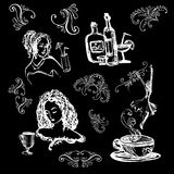 Set white on black with cocktails and girls illustration. Sketch Stock Photos