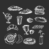 Set white on black with desert illustration. Sketch vector illus Stock Photos