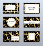 Set of white, black and gold business cards templates. Modern stock illustration