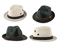 Set of white and black hats. Set of white and black modern men hat isolated on white Stock Image