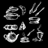 Set white on black with kitchenware illustration. Sketch vector Stock Photos