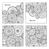Set of White and Black Pattern With Circle Shape. Abstract Doodle Mandalas. Circle Template Design Stock Image