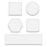 Set of white blank button. Round square rounded buttons Stock Images